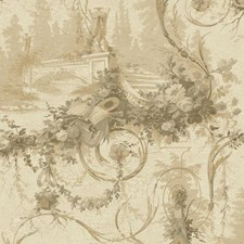 Beige/Gold/Light Tan Scenic Wallcovering by York