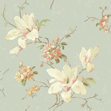 Light Blue/White/Cream Floral Medium Wallcovering by York