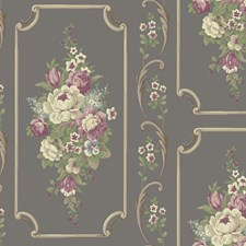 Pewter Sheen/Lilac/Wisteria Bricks Wallcovering by York