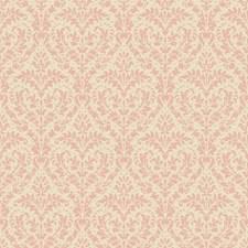 Blush Pink Sheen/Rich Cream Damask Wallcovering by York