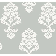 Silver Metallic/White Sidewall Wallcovering by York