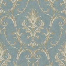 Marine Blue/Tobacco Brown/Cream Damask Wallcovering by York