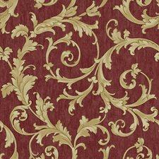 Scarlet Red/Ecru/Gold Sheen Scroll Wallcovering by York