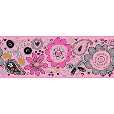 Light Pink/Bright Pink/White Children Wallcovering by York