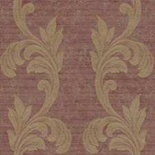 Deep Burgundy/Dark Tan/Silver Metallic Scroll Wallcovering by York