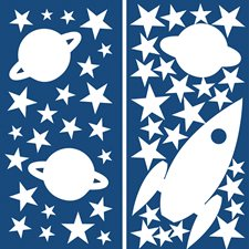 CR-77226 Rocket And Stars Glow In The Dark Wall Decals by Brewster
