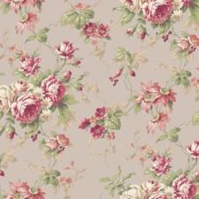 Medium Grey/Medium to Dark Red/Peach Floral Medium Wallcovering by York