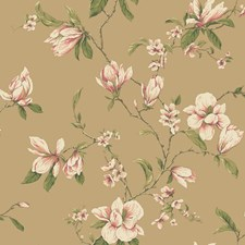 Shining Gold/Cream/Peach Floral Wallcovering by York