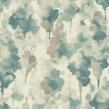 Off White/Dark Blue/Aquamarine Contemporary Wallcovering by York
