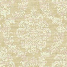 Pale Gold Sheen/Light Taupe/White Damask Wallcovering by York