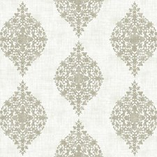 White/Taupe/Metallic Silver Damask Wallcovering by York
