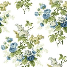 White/Blues/Yellow Green Floral Medium Wallcovering by York