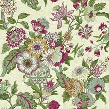 Beige/Magenta/Purple Floral Wallcovering by York