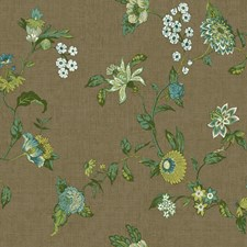 Brown/Teal/Light Blue Floral Wallcovering by York
