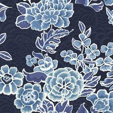 Dark Blue Satin/Medium Blue/Light Blue Floral Wallcovering by York
