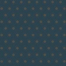 Navy Blue/Dark Taupe/Medium Blue Geometrics Wallcovering by York