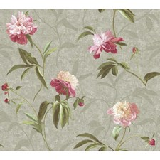 Silver/Peony Pink Wall Decor Wallcovering by York