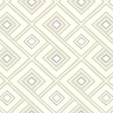 Cream/Beige/Grey Geometrics Wallcovering by York