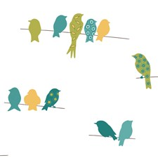 Teal Blue/Yellow/Lime Birds Wallcovering by York