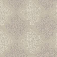 Platinum Pearl Metallic/Hint Of Amethyst/Deep Cream Damask Wallcovering by York