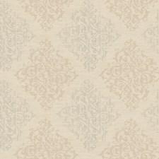 Sand Beige/Medium Beige/Silver Pearl Metallic Damask Wallcovering by York