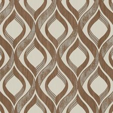 Red Brown/Cream/Metallic Silver Contemporary Wallcovering by York