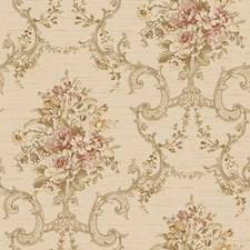 Sand/Coral/Taupe Damask Wallcovering by York