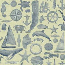 Ecru/Shades Of Marine Blue Animals Wallcovering by York