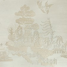 Beige Chinoiserie Wallcovering by Brunschwig & Fils