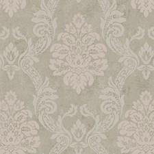 Pearled Platinum Metallic/Putty/Soft Lavender Damask Wallcovering by York