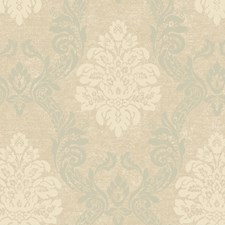 Soft Pale Linen/Soft Taupe/Spa Green Damask Wallcovering by York