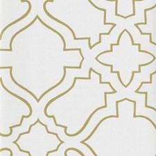 White/Metallic Gold Geometrics Wallcovering by York