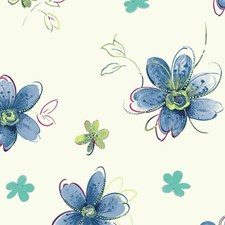 White/Blue/Yellow Floral Wallcovering by York