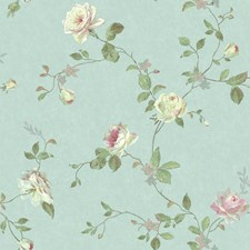 Pale Blue/Green/Pink Botanical Wallcovering by York