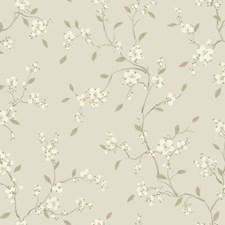 Metallic Silver/White/Medium Grey Floral Wallcovering by York