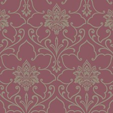 Magenta/Silver Glitter Damask Wallcovering by York