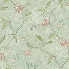 Aqua/Light Taupe/Pink Botanical Wallcovering by York