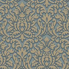 Blue/Taupe Damask Wallcovering by York