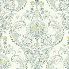 Ivory/Teal/Blue Damask Wallcovering by Kravet Wallpaper
