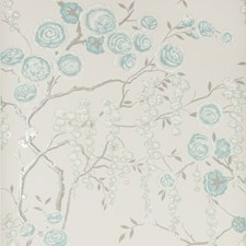 Aqua Botanical Wallcovering by Kravet Wallpaper