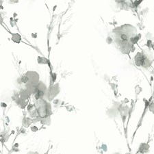 White/Grey/Light Grey Botanical Wallcovering by Kravet Wallpaper