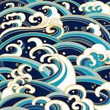 WALS0237 Japanese Waves Wall Mural by Brewster