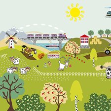 WALS0267 Farm Life Wall Mural by Brewster