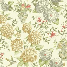 Off-white/Gold/Grey Floral Wallcovering by York