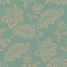 Teal/Greige Damask Wallcovering by York