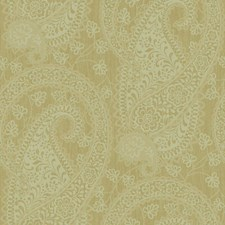 Matte Taupe/Palest Aqua On Metallic Gold Paisley Wallcovering by York