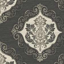 Black/Silver Wallcovering by Scalamandre Wallpaper