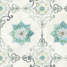 Blue/Silver Wallcovering by Scalamandre Wallpaper
