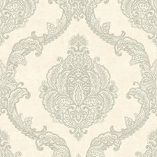 White/Silver Damask Wallcovering by York