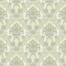 Cream/Medium Grey/Pale Yellow Damask Wallcovering by York